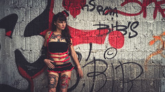 Christel (www.michelconrad.fr) Tags: rouge bleu vert canon eos6d eos 6d ef24105mmf4lisusm 24105mm 24105 femme modele portrait jupe minijupe urbex rose chapeau tatouage grafiti