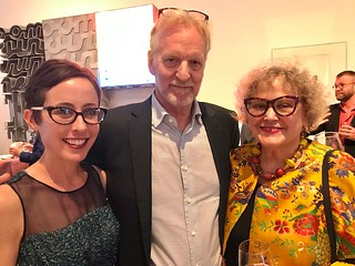 Dr. Jill Deupi, Lowe Museum director and chief curator, with artists Walter and Linda Wick at the Evening of Art fundraiser