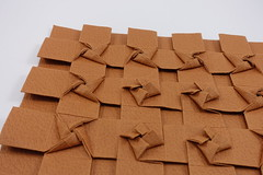 Braided Pinwheel Tessellation (side view) (Michał Kosmulski) Tags: origami tessellation pinwheel windmill fan star michałkosmulski biogamipaper brown tan buff