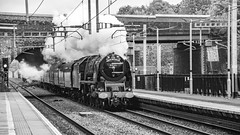 6233, Twyford, (B-W), 27 April 2019 (1) (BaggieWeave) Tags: lms princesscoronation duchessofsutherland 6233 steamengine steamlocomotive steam steamtrain twyford berkshire gwml reading england unitedkingdom bw blackandwhite 462 pacific uk