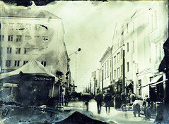 Downtown of Oulu (Sonofsono) Tags: finland oulu people wet plate black bw white glass fkd ambrotype longexposure