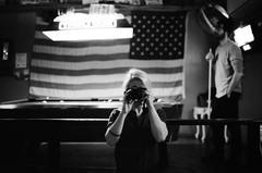 (SamBHart) Tags: reflection self mirror 35mmfilm bwfilm newyorkcity newyork bw blackandwhite nikonfm2 35mmlens trix americanflag pool billiards usa brooklyn