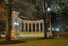 Busted (tquist24) Tags: chicago hdr illinois millenniummonument millenniumpark nikon nikond5300 outdoor wrigleysquare architecture city downtown geotagged grass lamppost lawn light lights longexposure monument night outside tree trees urban