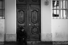 At number 11 (N.Hell) Tags: stranger street streetphotography people portrait city town grenoble france sigma 105mm sit blackandwhite monochrome bw door alone mood dreaming wall contrast