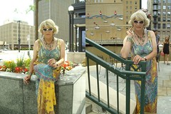I So Much Want To Be Able To Wear This Dress Again. Outside. In Public. In Warm Weather! (Laurette Victoria) Tags: maxi dress sunglasses blonde downtown milwaukee woman laurette necklace