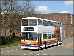 United Counties 654 (Jason 87030) Tags: unitedcounties show rally bus doubledecker leyland olympian red white blue orange welly wellingborough northants northamptonshire april 654 2019 shot
