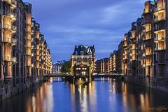 Wasserschloss (funtor) Tags: blue gold city night long exposure light urban colors hamburg germany