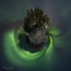 Little planet Aurora (RWFOTO.NL) Tags: auroraborealis finland inari lapland noorderlicht renewolffotografie xt3 aurora wwwrwfotonl lappi little planet