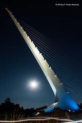 Sundial and skateboarders (Jerry Hamblen) Tags: sundialbridge sacramentoriver sacramento river bridge sundial reddingca skateboarders lights moon