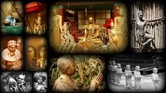 Statues et sculptures du Tropical Parc à Saint-Jacut-les-Pins (Thierry LARERE) Tags: statue sculpture tropicalparc saintjacutlespins france morbihan femmeafricaine femme hommeafricain bouddha statuethaïlandaise statuettechinoise coupleafricain statuettesenfants