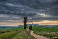 Toscana - Val d'Orcia (luigi.alesi) Tags: toscana valdorcia italia italy tuscany siena val dorcia paesaggio landscape scnery nuvole clouds sky cielo strada way road alberi cipressi trees natura nature campagna country countryside tramonto sunset patrimonio dellumanità unesco nikon d750 raw