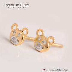 Teddy Bear Kids Jewelry 18k Yellow Gold Pave Diamond Stud Earrings for Baby Girl (couturechics.facebook1) Tags: teddy bear kids jewelry 18k yellow gold pave diamond stud earrings for baby girl