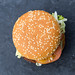 Top view of German McDonalds Burger and meat substitute