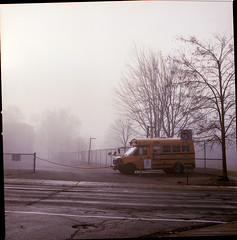 Schoolbus Nostalgia - Foggy Morning (Brjann.com) Tags: kodak kodakfilm portra 160 portra160 kp160 fog morning landscape newtopographic cityscape urban mediumformat medium format photography hasselblad 501cm toronto canada urbanscape