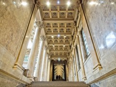 Marbled Splendour (Steve Brewer Photos) Tags: hungary budapest hungariannationalgallery heroessquare artgallery gallery art interior grandiose architecture columns column marble wall walls stair staircase step steps