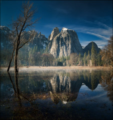 Reflecting on Yosemite (PrevailingConditions) Tags: yosemite nps reflection morning winter landscape ca california trees rocks mountains water mist