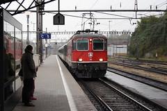 20081022 016 Rorshach. 11118 Approaches With RE3828, 12.22 Chur - St Gallen (15038) Tags: railways trains sbb cff ffs switzerland re44ii re420 electric locomotive rorshach 11118