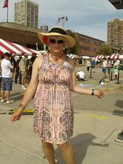To Dress Like A Girl, In Public (Laurette Victoria) Tags: woman laurette dress hat sunglasses necklace milwaukee downtown bastilledays