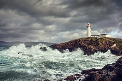 Fanad Head Lighthouse during storm Hannah (Patryk Sadowski) Tags: blue fanad head lighthouse storm hannah ocean waves wind ireland coast donegal