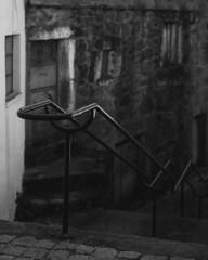 At Peroviseu - an ageing population (lebre.jaime) Tags: portugal beira peroviseu street stairs handrail oldhouse hasselblad 500cm planar cf2880 analogic film120 mf mediumformat 6x6 blackwhite bw noiretblanc pb pretobranco ptbw rollei retro80s iso80 epson v600 affinity affinityphoto