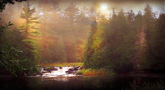 Waterfalls Algonquin Park (jarr1520) Tags: landscape ontario algonquinpark canoetrip sky cloud mist fog morning sunrise sun waterfalls composite textured water sunlight rocks river trees woods