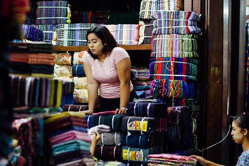 Women in Fabric Market, Yangon Myanmar