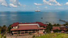 View of the MS Rotterdam anchored in Trujillo from Fort Santa Barbara - Honduras