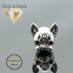 Charms chien et son bracelet en argent 925 (olivier_victoria) Tags: argent 925 bracelet animaux charms chien fermoir maille serpent souple charm charme mousqueton petit bouledogue bulldogue