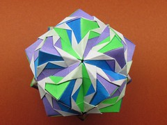"Origami, Sonobe variation, ""Last post in Heisei era"" (Masaya2012) Tags: sonobe kusudama modular modularorigami sonobevariation stellatedicosahedron smalltriambicicosahedron くす玉 薗部 ユニット 折り紙 アレンジ"