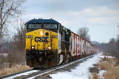 Potash Loads East (conrail6809) Tags: geac4400cw ge ac4400cw csxcw44ah csxt509 csxg010 clarksvillemi michigan train trains railroad railway locomotive railfan railfanning potash snow winter