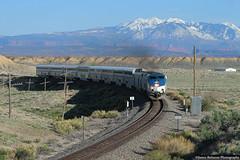 La Sal Mountains (jamesbelmont) Tags: amtrak californiazephyr lasalmountains utah thompson train passenger superliner railroad railway locomotive ge p42dc
