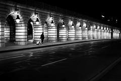 Along the lit bridge (pascalcolin1) Tags: paris13 femme woman valise suitcase pont bridge lumière light nuit night photoderue streetview urbanarte noiretblanc blackandwhite photopascalcolin 50mm canon50mm canon