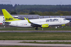 Air Baltic, Boeing 737-53S, YL-BBX. (M. Leith Photography) Tags: add tags aberdeen airport dyce scotland scottish sunshine nikon d7200 70200vrii mark leith photography flying aviation airplane cockpit aircraft grass forest tree wheel road air baltic boieng 737 sunny 200500f56