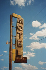 Minolta Zoom 105 Bagdad Cafe Motel Sign (▓▓▒▒░░) Tags: minolta point shoot compact japan kodak bagdad california desert history explore movie film location abadoned motel tourist french analog retro vintage classic antique mechanical design style camera newberry springs huell howser neon sign airstream route 66 highway