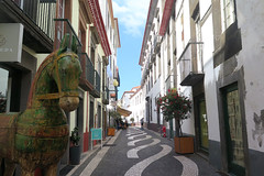 Black and white pavement in Funchal (Sokleine) Tags: pavement mosaics tiles street rue sol volcanic noir black blanc white heritage historic tradition funchal madère madeira madeiraislands portugal cheval horse statue sculpture ruelle venelle