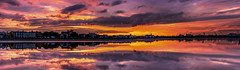 May the 1st be with you (Gullivers adventures) Tags: natgeo inexplore pano may sunset clouds pink sky panorama reflections sea ocean ireland dublin eire panoramic colors sun orange yellow flickr explore summer light deep