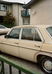 Santa Clara, California (bior) Tags: fujicahalf halfframe santaclara residential suburbs kodakgold kodakfilm gold200 house tan car mercedes
