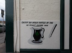 ENJOY AN IRISH COFFEE [NEAR THE HALFPENNY BRIDGE]-152097 (infomatique) Tags: advertisement sign astonquay halfpennybridge streetsofdublin ireland williammurphy infomatique fotonique sony a7riii sigma 14mmlens wideanglelens may 2019 streetphotography