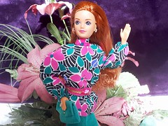 Barbie Private Collection / Couturier #7096 from 1990 (VintageZealot) Tags: barbie mattel private collection wedding day midge 1990 1990s 90s 7096 9606 9852 vintage retro fashion doll clothing clothes outfit diva malaysia model modelling caucasian red head auburn titian plastic snaps elastic jewelry ring rings earring earrings gold diamond rhinestone crystal blouse shirt top flared skirt belt clutch purse handbag hand bag pumps floral hot pink teal green black white jewel blue couturier periwinkle