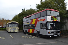 Midland General 148 NNU447J & PMT 757 G757XRE (Will Swain) Tags: gladstone pottery museum during pmt running day 21st october 2018 preserved heritage bus buses transport travel uk britain vehicle vehicles county country england english stoke trent stokeontrent midland general 148 nnu447j 757 g757xre