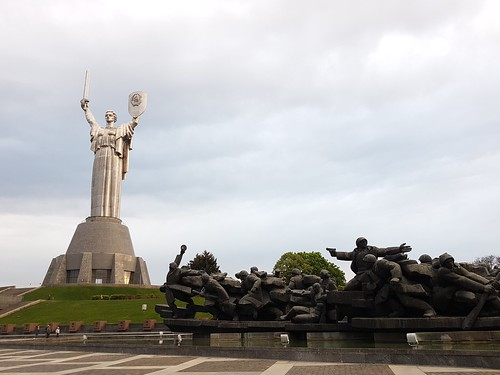 Motherland Monument and the monument to the liberators of Kiev in the Second World War