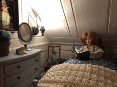 Bedtime story (Foxy Belle) Tags: dollhouse bedroom white paneled walls 112 doll house 19th century bed blue chalk paint car schleich gray bedding blanket crochet heidi ott redhead reading read covers under night evening moody led chic french country wood wooden floor simplicity real good toys addition dormer sloped ceiling distressed repainted diy ooak