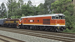 """Craig Prior's Locomotive 42103 named """"Chumster"""", with loco 4702, as Lachlan Valley Railway tour / transfer run 8L83 from Sydney Central Station to Parkes for the Trundle ABBA Festival over the weekend. (Paul Leader - Paulie's Time Off Photography) Tags: 421class 8l83 abbafestival locomotive42103namedchumster passengertrain 42103 4702 locomotive4702 lachlanvalleyrailway lvr olympus olympusem10 paulleader vintagetrain heritagelocomotive diesellocomotive diesel locomotive transport transportation train travel tourist rail railway railroad passenger railpage:class=103 railpage:loco=42103 rpaunsw421class rpaunsw421class42103"""