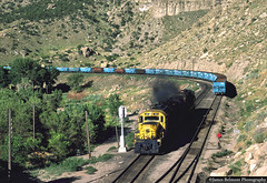 Gatorade (jamesbelmont) Tags: alco utahrailway santafe martinyard helper utah utahrailwayjunction rsd15 rsd12 rockisland coal hopper