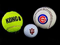 "Three of a kind...Logo balls (Jack Blackstone) Tags: old used illusion float pop contrast texture shapes baseball tennis golf ""blackbackground"" logo balls em1mkii on1edit crazytuesday threeofakind"