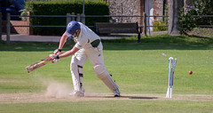 Missed it! (tom ballard2009) Tags: cricket sport game batsman bat ball bails stumps leather willow southwick green sussex ground pitch wicket yorker death rattle dust man