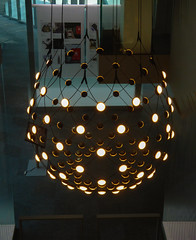 The Fragile Space Hopper (Steve Taylor (Photography)) Tags: architecture design light museum blue black brown contrast wire asia city singapore shape chandelier reddotdesignmuseum
