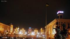 Ukraine flag (fulgherigabriele) Tags: maidan night lights ukraine kiev kyiv architecture building