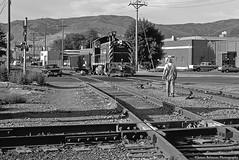 Safe Passage for the 2:30 Drag (jamesbelmont) Tags: riogrande emd sw1200 drgw saltlakecityutah passengermainline 230drag railroad railway train locomotive monochrome