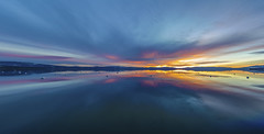 Sunrise Panorama (CraDorPhoto) Tags: canon5dsr landscape waterscape sunrise dawn lake water reflection mountainrange clouds sky colour outside outdoors nature usa california laketahoe alpine